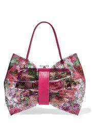 REDValentino Leather-trimmed printed PVC and canvas shoulder bag