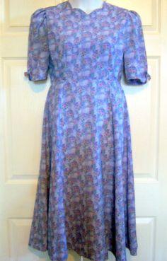 "Amish Mennonite Handmade Modest Spring Cape Dress 36"" Bust/ 30"" Waist"