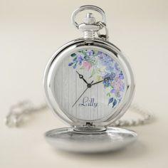 #Rustic Personalized Watercolor Purple Hydrangeas Pocket Watch - #floral #gifts #flower #flowers