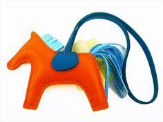 HERMES Auth Rodeo PM Bag Charm Anion Cotton Orange Celest Blue NOS Mint #0574 #HERMES