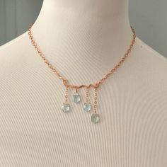 RÉSERVÉ pour JAN Aquamarine rose collier en or par JewelDripped