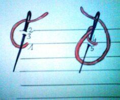 Travailler de droite à gauche et changer de couleur à chaque rangée. 1er rang : procéder comme pour le point de deuil, mais piquer...