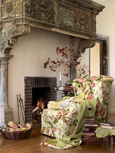 Sitting Room...I could think of so many ways to use this mantle & love the chair :))