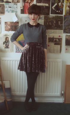Love the Peter Pan collar & the crushed velvet is such a neat texture!