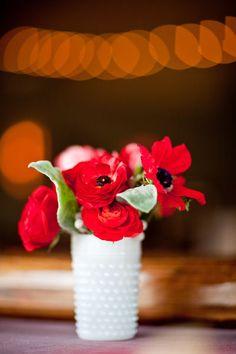 red ranunculus and anemones