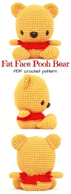 What an adorable amigurumi crochet pattern for Winnie the Pooh! I love his big head! And there are other patterns for the other characters, too: Tigger, Eeyore, & Piglet! Love these cute DIY stuffed animals! Disney Crochet Patterns, Crochet Disney, Crochet Patterns Amigurumi, Crochet Dolls, Cat Amigurumi, Crochet Beanie, Cute Crochet, Crochet Crafts, Crochet Baby