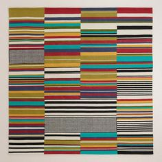 One of my favorite discoveries at WorldMarket.com: 6' Square Multicolor Off-Placed Stripe Rug