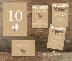 Wedding Invitation Suite: SAMPLE Mountains Colorado Kraft