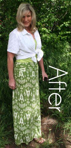 DIY Green Maxi Skirt Refashion Tutorial After 4