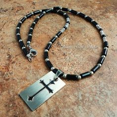 Black Onyx Mens Cross Tag Pendant Necklace - Handmade Jewelry for Men | Mamis_Gem_Studio - Jewelry on ArtFire