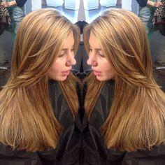 Dark copper brown---> Beige honey Blonde.