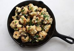 Roasted Cauliflower with currants and parsley. Cauliflower side dish, much healthier option than pasta or potatoes.