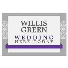Purple Banner Damask Custom Wedding Lawn Sign