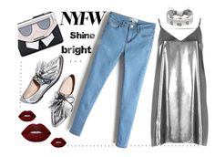 NYFW Shine bright by malinkova on Polyvore featuring moda, River Island, Karl Lagerfeld, Fallon, Lime Crime, Loeffler Randall, NYFW, Silver and jeans