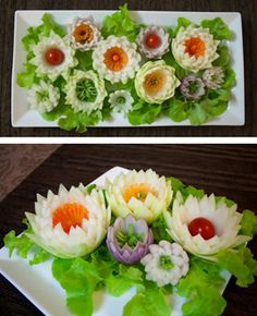Carved Vegetable Flowers by Student – Simon Muscat - Food Carving Ideas Veggie Art, Fruit And Vegetable Carving, Veggie Food, Fruit Sculptures, Food Sculpture, Food Garnishes, Garnishing, Food Carving, Fruit Carvings