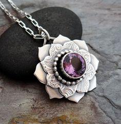Amethyst, Sapphire, Sterling Silver Flowers, Flower Petals, Artisan, Lost, Pendant Necklace, Gemstones, Chain