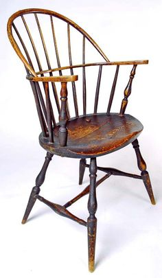 18th C. Painted Sackback Eastern Connecticut sackback Windsor with  unusually good proportions and turnings in crusty 19th C. black paint over the original green. $3,800 Halsey Munson Americana
