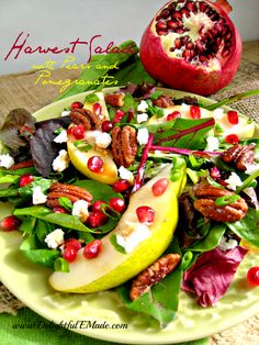 Harvest Salad with Pears and Pomegranates. This salad is a perfect side dish to a holiday meal. Its great for a special occasion or a busy weeknight meal. Healthy Holiday Recipes, Easy Salad Recipes, Easy Salads, Thanksgiving Recipes, Thanksgiving Table, Delicious Fruit, Tasty, Delicious Meals, Spa Food