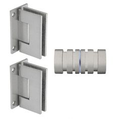 "- CRL Brushed Nickel Geneva Shower Knob and Hinge Set. 1 by 1 "" knobs Shower Door Hardware, Glass Hinges, Frameless Shower Doors, Glass Shower, Door Knobs, Brushed Nickel, Bathroom Hooks, Geneva, Bathrooms"