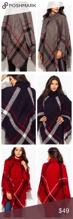 Beautiful plaid ponchos in an array of colors Beautiful plaid ponchos in an array of colors sold separately Sweaters Shrugs & Ponchos