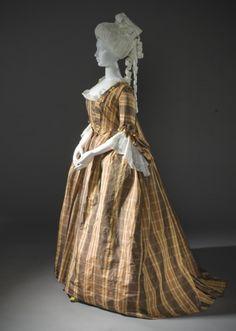 Robe a la Française circa 1760 Silk a) Robe center back length: 61 in. (154.94 cm); b) Petticoat center back length: 39 1/2 in. (100.33 cm)