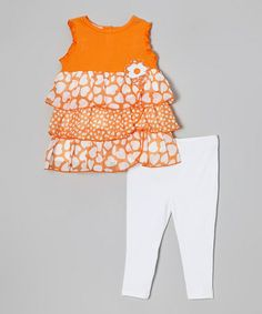 Love this Orange Heart Tiered Tunic  Leggings - Infant, Toddler  Girls on #zulily! #zulilyfinds