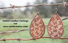 A personal favorite from my Etsy shop https://www.etsy.com/listing/269171920/tooled-leather-earrings-butterflies