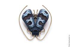 """Купить Брошь """"Жук усач"""" - синий, крупная брошь, украшения с насекомыми, украшения с жуками"""