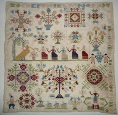 Blackwork Cross Stitch, Cross Stitch Sampler Patterns, Embroidery Sampler, Needlepoint Stitches, Cross Stitch Samplers, Cross Stitch Embroidery, Embroidery Patterns, Needlework, Vintage Quilts