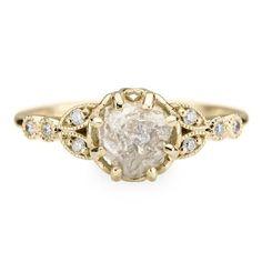 1.2 Carat Uncut Diamond Engagement Ring, 14k Yellow Gold Clover Setting