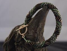 Russian Spiral Bracelet w/ Bugle Beads