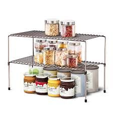 Wosovo Expandable Stackable Shelf Kitchen Cabinet Counter Rack Organizer Multipurpose Pantry Stackable Shelves Best Kitchen Cabinets Kitchen Rack