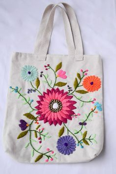 An Encyclopedia of Ribbon Embroidery Flowers: 121 Designs (American School of Needlework, No. Mexican Embroidery, Embroidery Bags, Crewel Embroidery, Hand Embroidery Designs, Embroidery Patterns, Floral Embroidery, Fabric Bags, Handmade Bags, Handmade Leather