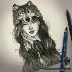 Girl with wolf tattoo design. For appointment or Design tattoo please contact . Wolf Tattoo Design, Tattoo Designs, Tattoo Outline, Cat Tattoo, Tattoo Drawings, Tattoo Wolf, Head Tattoos, Body Art Tattoos, Tatoos
