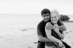 couple's pose on beach