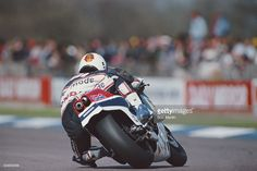 Ron Haslam of Great Britain rides the #9 HRC-Honda NS500 during the XIV TransAtlantic Challenge Motorcycle races on 22 April 1984 at the Donington Park Circuit in Donington, United Kingdom.