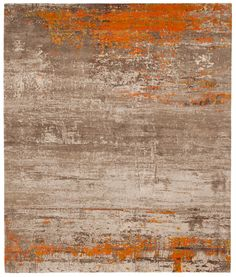 Artwork 19: Orange Hand knotted in Wool.Silk, Nettle