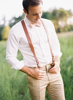 leather suspenders and a floral bow tie   Ali Harper #wedding