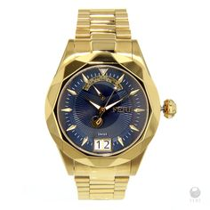 - Navy Blue dial  - Swiss made movement  - Gold toned metal case and band  - 3 piece Solid Stainless Steel Case  - 10 ATM of water resistance  - Date Function  - Sapphire crystal glass face  - Uniquely styled bezel  - 3 year limited manufacturer warranty  - Hypoallergenic    Dimenssions:    Face: 48mm x 44mm (Including case and crown)  Band width: 22mm  Clasp: 26mm x 18mm    Invest with confidence in FERI Designer Lines.  | Shop this product here: http://spreesy.com/Feri_Luxury_Consultant/31…