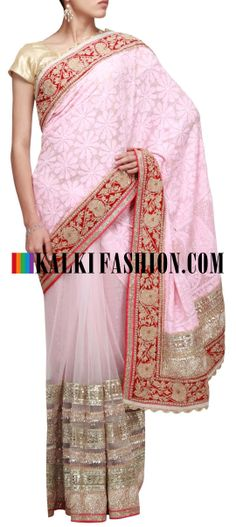 Buy Online from the link below. We ship worldwide (Free Shipping over US$100) http://www.kalkifashion.com/half-and-half-saree-featuring-in-pink-embellished-in-lucknowi-work-only-on-kalki.html Half and half saree featuring in pink embellished in lucknowi work only on Kalki