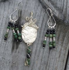 African Queen PMC Silver Pendant with Gemstones by CrowCrossroads, $65.00