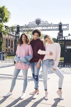 Get your crew & wear all shades of pink Fall Dresses, Winter Outfits, Autumn Winter Fashion, Fall Fashion, Fedora Hat, Blue Jeans, Mom Jeans, Celebs, Stylish