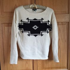 Lauren Ralph Lauren Southwest Inspired Sweater Fab cotton sweater with a southwest inspired print! Cream with navy. Pre-loved condition; a re-Posh because it didn't fit me. NO TRADESPRICED TO SELL Lauren Ralph Lauren Sweaters Crew & Scoop Necks