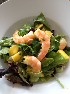 Prawn with mango salad