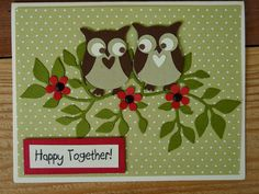 """handmade anniversary card from Pam's Creative Cards ... punched owl """"love birds sitting in a tree ... luv their eyes ... Stampin' Up!"""