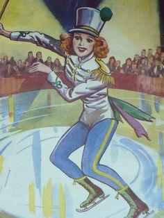 Original 1951 Ice Skating Matted Print Vintage by PrimrosePrints, £10.00 Vintage - Majorette - Skater - Skates - Dancing - Dancer - Rink - Baton Twirler - Dance - Picture