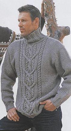 2ebbf5197 Вязание для мужчин. Свитер с аранами. Pulls, Free Aran Knitting Patterns,  Jumper