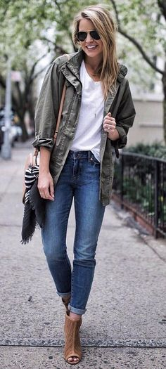 Fall fashion inspiration of rolled skinny jeans with a cargo jacket and white t-shirt