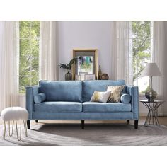 Found it at Joss & Main - Calliope 83.1'' Velvet Sofa $860- 37d and 83w and 32h- removable legs- free inside delivery- Retailed for $2500