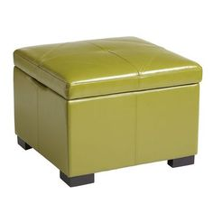 Chelsea Storage Ottoman - Avocado. This color is surprisingly neutral when mixed with blues and grays. If it scares you then brown or black would be an alternative!